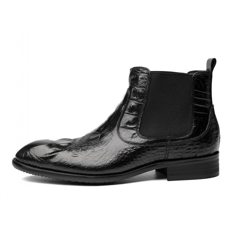 Plat Bout Hiver Véritable Pointu Bottes Sur Qualité Nouvelle Scarpe red Rouge Cuir Chelsea Hommes Slip Mode Chaussures Haute Black Noir UzqSVpGM