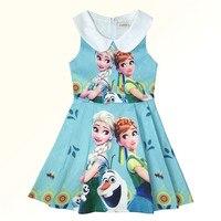 Funfeliz Baby Girl Dress 3 10 Years Anna Elsa Dress Summer Children Clothes Sleeveless Character Dresses