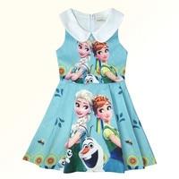 Funfeliz Baby Girl Dress 3 10 Years Anna Elsa Dress Summer Children Clothing Sleeveless Character Cotton