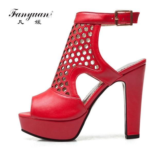 e28a7b7f2ed28e Fanyuan Fashion Show Gladiator Sandals Women Fretwork Peep Toe Ankle Strappy  Heels Ladies Platform Shoes Stylish Nightclub Shoes