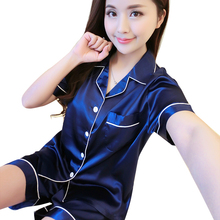 2017 Лето женщины pajama наборы Женская Шелковый Атлас Пижамы Пижамы Набор Пижамы Loungewear Короткими Наборы AB009