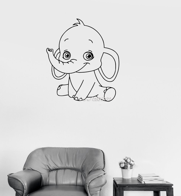 Baby Elephant Cute Animal Wall Stickers Decor Children Kids Room Sticker E Co
