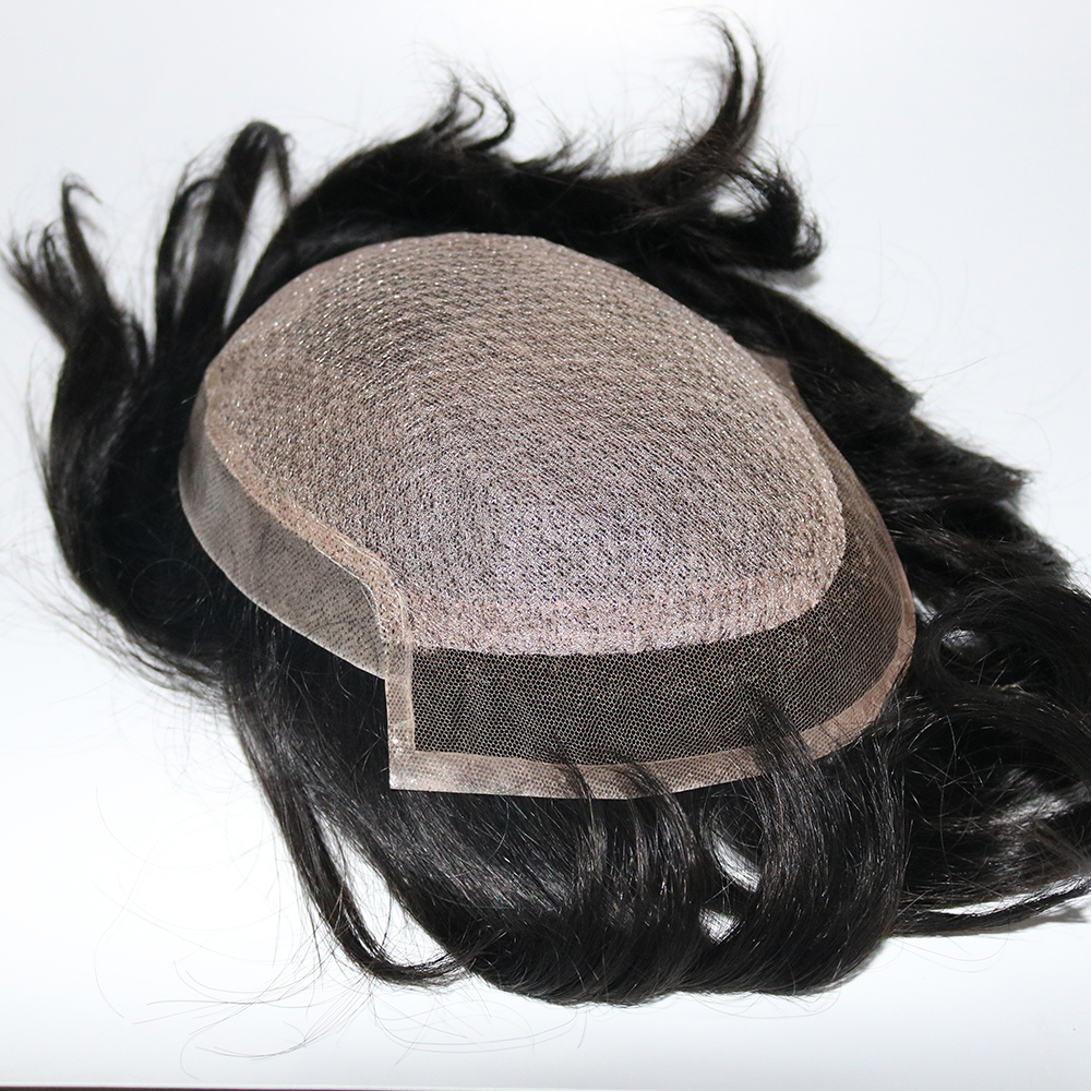 Eversilky 100% Handmade Mens Toupee Silk Base With Swiss Lace In Front & Thin Skin At Back Men Remy Hair Systems Repalcment