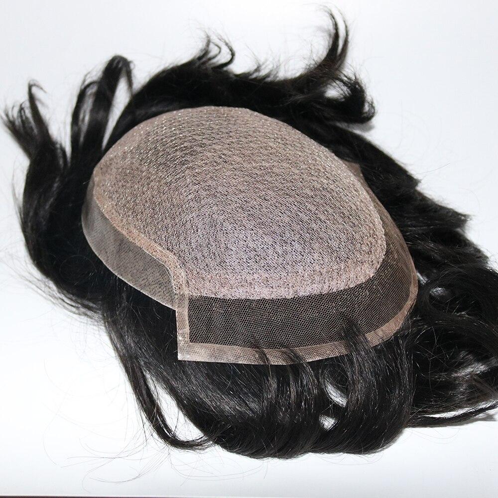 Eversilky 100% ручная работа, Мужская шелковая основа с швейцарским кружевом спереди и тонкая кожа на спине, Remy Hair System RepalcmentПарики    АлиЭкспресс