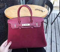 2018 hot sell latest fashion genuine real suede cow skin leather women lady tote handbag 30cm size with golded locker and key