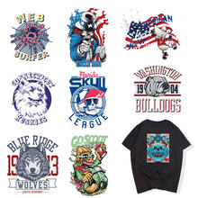 цены Fashion Skull Punk Patch for Clothing Sticker  DIY Top National Flag Animal Heat Transfer Stickers Press Appliques T-shirt Vinyl