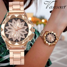 Hot Fashion Women Flower Rhinestone Wrist Watch Luxury Casual Rose Gold Steel Quartz Watch Relogio Feminino Drop Shipping