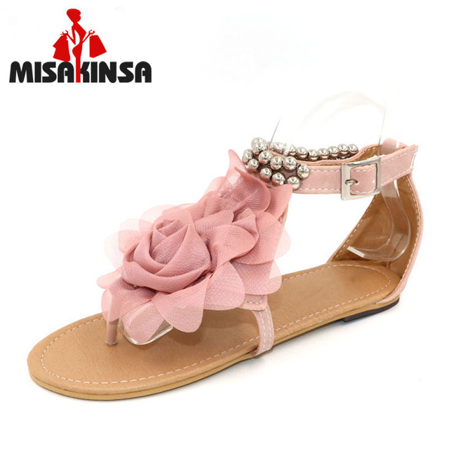 MISAKINSA Ladies Gladiator Sandals for Women Bohemia Beaded Flower Flat  Heels Flip Flops Tstraps Sandals P11881 size 34-43 4bb759eb1b