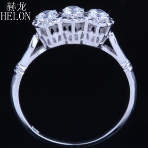 Image 4 - HELON Solid 10k White Gold Jewelry 0.3ct Genuine Moissanites Diamond Ring Engagement Wedding Exquisite Women Three Stone Ring