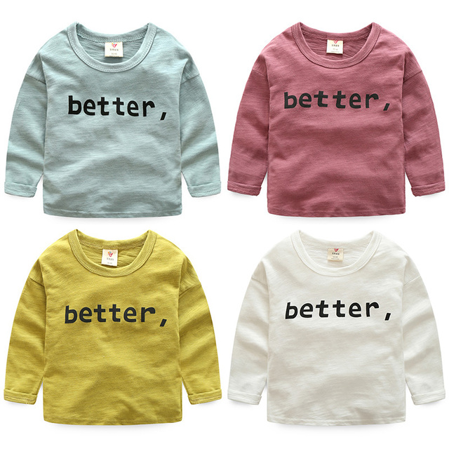 2-10T girls  boy's T-shirt 2017 new spring children O neck long sleeved top and tee clothes
