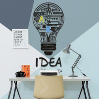 Idea Light Bulb Design Acrylic Stickers Customized DIY Wall Sticker Study Room Book Store Office Wall Decorations