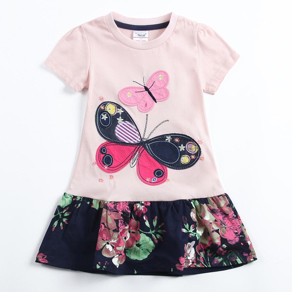 Mädchen sommer kurzen ärmeln kleid NEAT Rundkragen Baumwolle Schmetterling Muster Print Mädchen Kleid Mode Mädchen Prinzessin Kleid SH5460