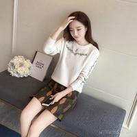 2017 Women Autumn Korean Fashion White Pullover Knitted Long Sleeve Sweater Jersey Runway Designer Knitwear Thin