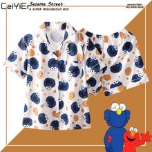 Caiyier Cute Monster White Print Short Pyjamas Women Cotton With Eye Mask Sleepwear Sexy Ladies Summer Sweet Pijamas 3pcs
