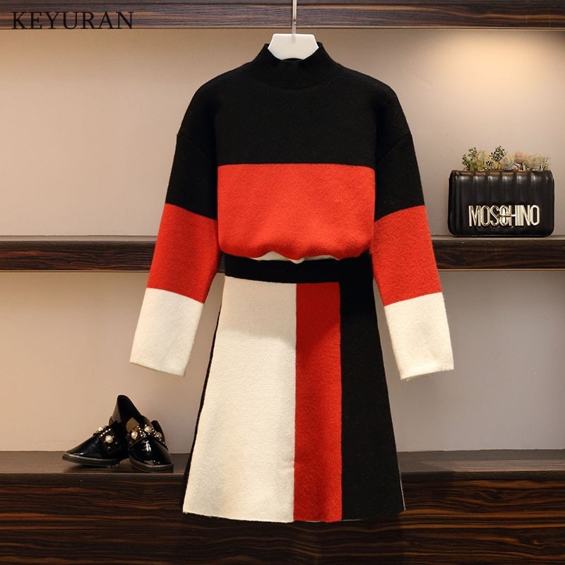 Plus Size XL 4XL Knitting Sweater Suits 2 Pieces Set Women Hit Color Pullovers + Skirt Fashion Korean Cute Patchwork Tops Skirts