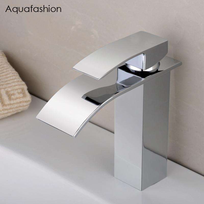 Waterfall Bathroom Faucets Chrome Vessel Sink Faucet Bathroom Single ...