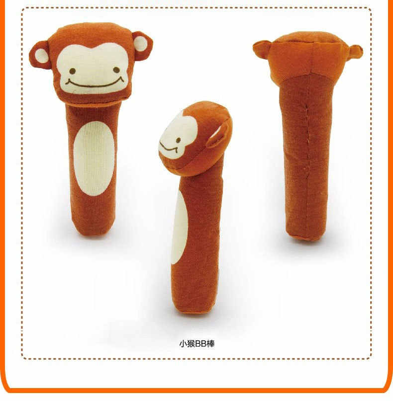 2017 Hot 15.5cm infant Baby Plush Rattle Mobile Bibi bar Toy stick Soft Cat tiger Doll Baby Crib Animal Squeaker Toy Hand Puppet