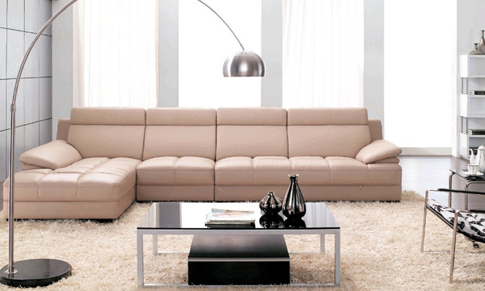 Furniture living room leather Sofa Top Grain Leather L Shaped ...
