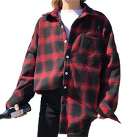 Women Plaid Blouse New Spring Autumn Loose Casual Long Sleeve Tops Female Fashion Cotton Red Black
