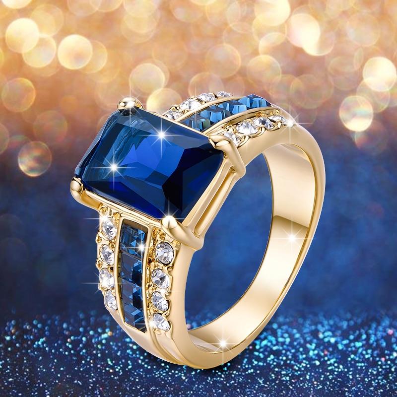 Aliexpress Com Buy 1440pcs Gold Bottom Crystal Clear: VOGEM Square Blue Stone Rings For Women 18 K Plating Gold