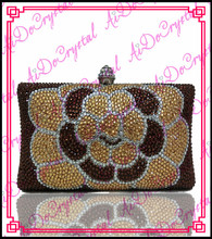 Aidocrystal handmade crystal gold big flower style women purse bag