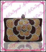 Aidocrystal handmade crystal gold big flower style women purse bag