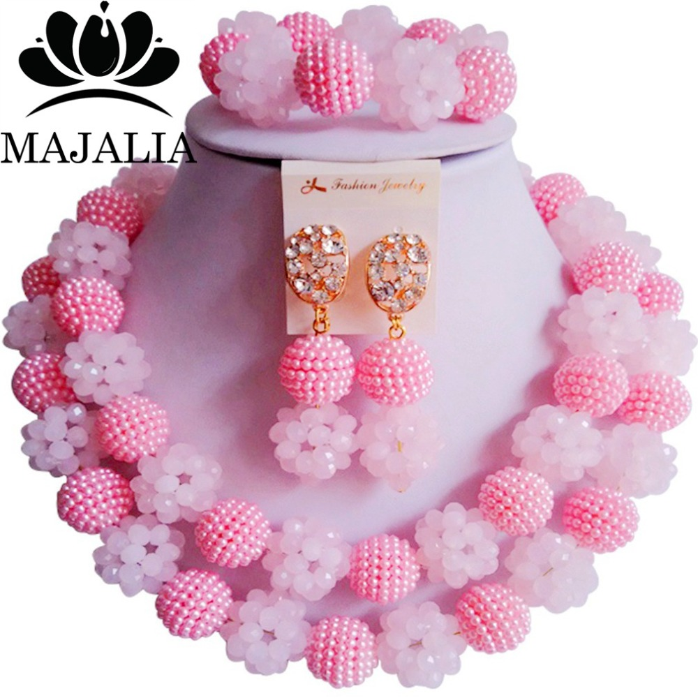 Fashion african jewelry set pink Plastic and crystal nigerian wedding african beads jewelry set Free shipping Majalia-430Fashion african jewelry set pink Plastic and crystal nigerian wedding african beads jewelry set Free shipping Majalia-430
