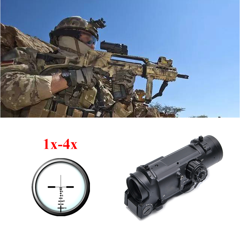 Tactical Rifle Scope Quick Detachable 1X-4X Adjustable Dual Role Sight Red Dot Sight For Hunting tactical rifle scope dr quick detachable 1x 4x adjustable dual role sight airsoft scope magnificate scope for hunting