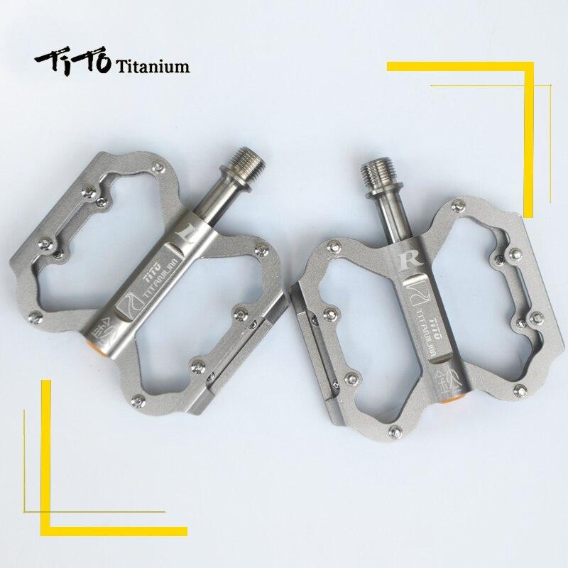 TiTo pédale ultralégère titanium pédale de bicyclette titanium alliage axe pédales de vélo vtt vélo VÉLO En titane 1 paire titanium pédale - 3