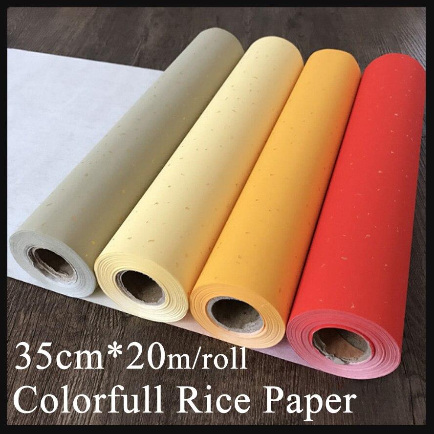 35 cm * 20 m coloré papier brut chinois peinture riz papier rouleau Xuan papier peinture approvisionnement