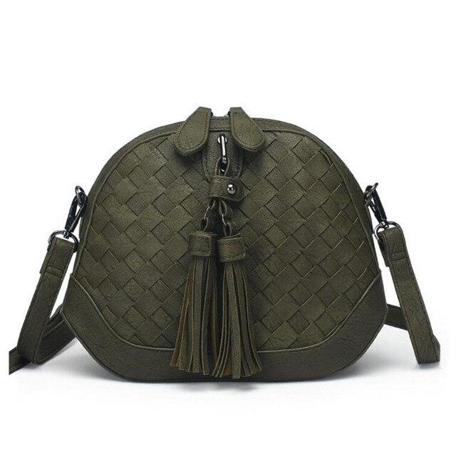 New 2017 Fashion Shoulder Bag Handmade Knitting Leather Women Shell Bag Female Tassel Crossbody Handbags Hot Sale