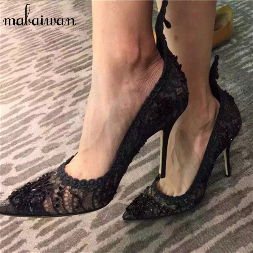 Sexy Lace Black Women Pumps Pointed Toe High Heels Fashion Wedding Dress Shoes Woman Zapatos Mujer Stiletto Valentine Shoes