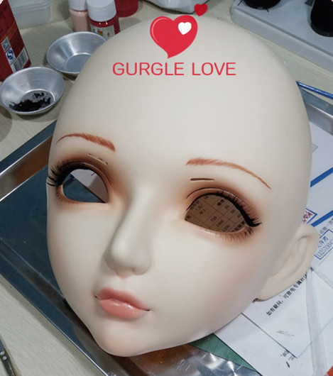 Novelty & Special Use female Sweet Girl Resin Half Head Kigurumi Bjd Mask Cosplay Japanese Anime Role Lolita Lifelike Real Mask Crossdress Doll Firm In Structure Costumes & Accessories dm008