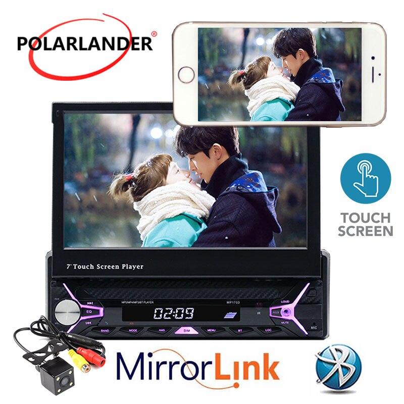 Autoradio radio lecteur cassette Mp5 Autoradio MP3/RDS/USB/SD/TF carte 1 Din 7 pouces main libre ecran tactile Bluetooth miroir Lin - 2