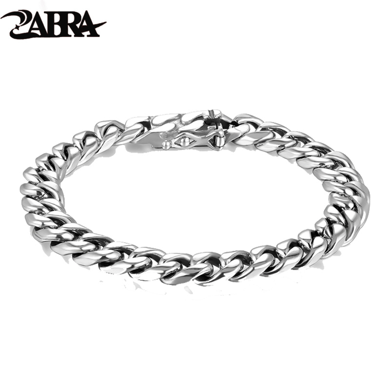 ZABRA 925 Sterling Silver Bracelet Man Punk Link Chain Mens Bracelets For Women Vintage Rock Biker Jewelry zabra luxury 925 silver bracelets men vintage punk crown mens skull bracelet biker gothic sterling silver jewelry erkek bileklik