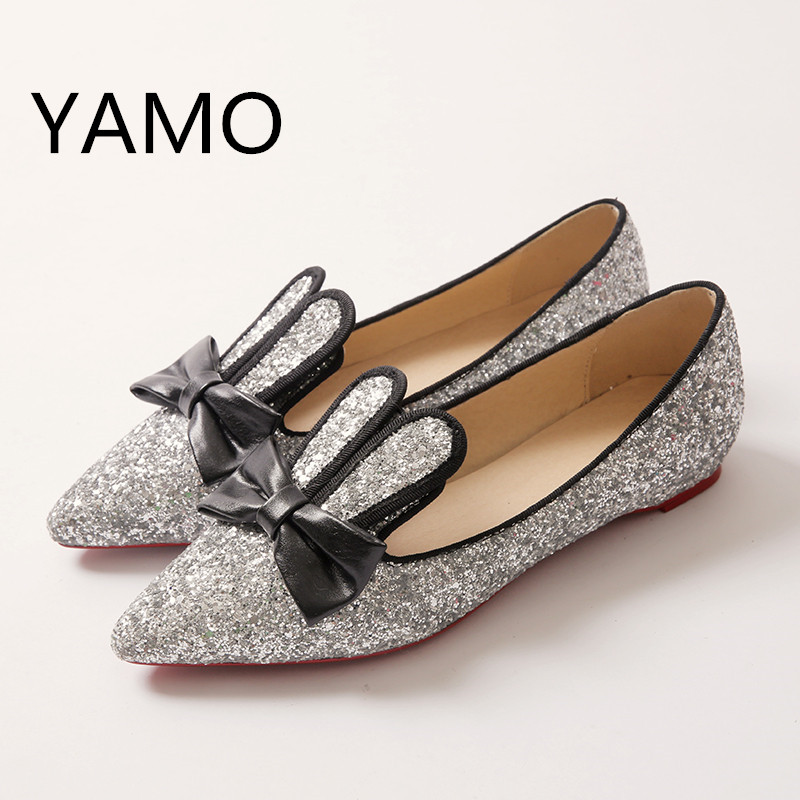 Plus Size 34-47 Women Flat Shoes 2017 Spring Autumn Glitter Fashion Flats Casual Shoes Pointed Toe Sweet Girls Shoes with Bow gold sliver shoes woman for 2016 new spring glitter bling pointed toe flats women shoes for summer size plus 35 40 xwd1841