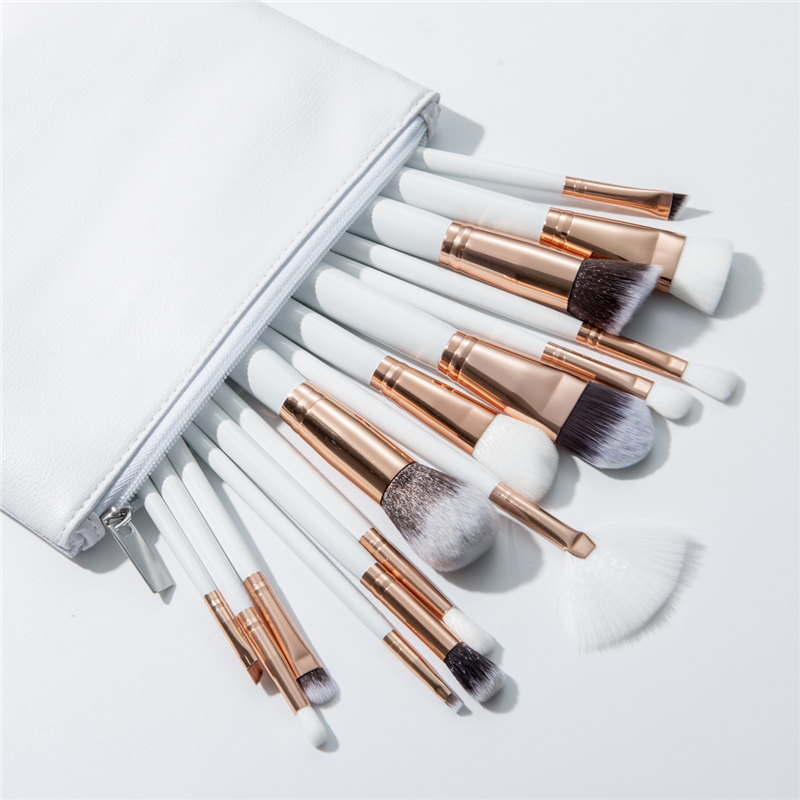 цена на BBL 15pcs White Makeup Brushes Set Cosmetics Bag Foundation Powder Blush Concealer Brush Reals Premium Makeup Brush Professional