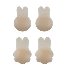 Women's Silicone Rabbit Invisible Nipple Covers Flower Lift Up Tape Petals Reusable Sexy Nipple Stickers Bra Pad for Party Dress цена и фото