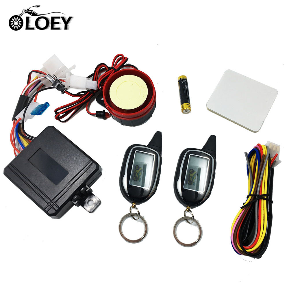 2 Way Anti-theft Security Alarm System For Motorcycle Scooter Moto Two Way Alarm With 2 LCD Transmitters Remote Engine Start