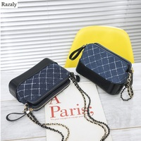 Razaly brand high quality designer denim bag handbags and purse crossbody clutch diamond lattice metal leather chain small totes