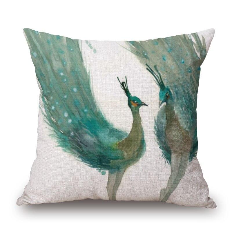 couleur plume coussin couvre chef paon taie d oreiller renard aquarelle impression oreiller couvre 45x45 cm chambre canape decoration dans housse de coussin