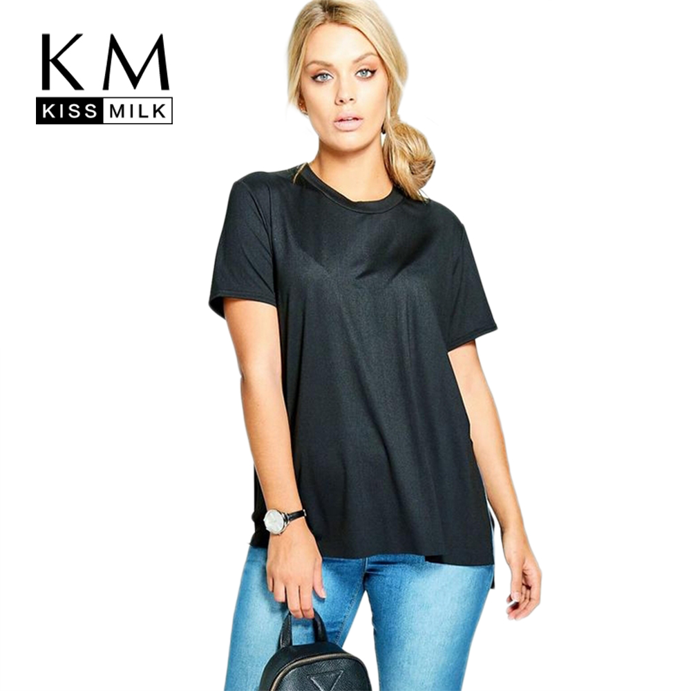 Kissmilk 2017 big size fashion women clothing solid casual for Large shirt neck size
