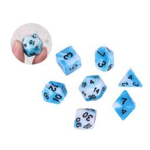 7 многогранные кубики Количество игры акриловые синие и белые кости набор для MTG настольная игра игры Подземелья и Драконы РПГ