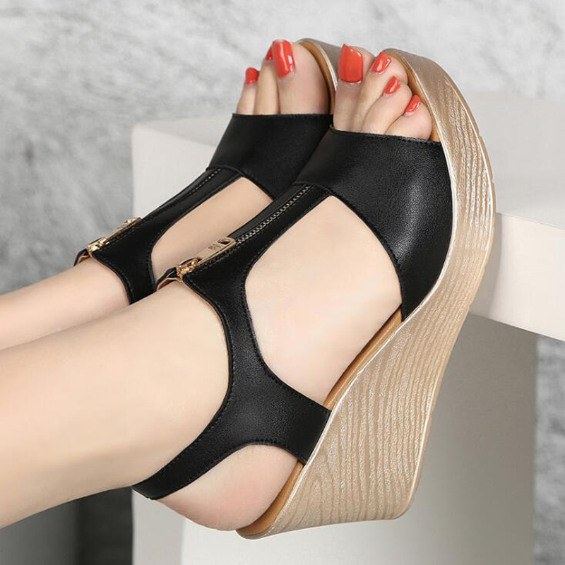 2019 summer women sandals platform wedge sandals women zipper solid summer shoes gladiator sandals big size 32 - 43