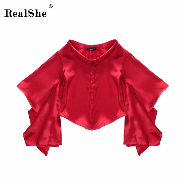 617578e6268 RealShe women silk satin blouse womans button lapel long sleeve shirts  ladies elegant casual female tops high quality blusa