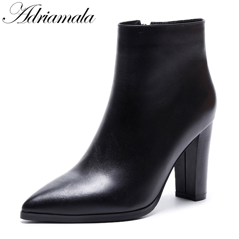Autumn Genuine Leather Ankle Boots For Women British Style Cow Leather Pointed Toe Fashion High Heels Short Boots Adriamala arrylinfashion british fashion all match ankle boots top leather autumn botas femininas pointed toe charming thin high heels