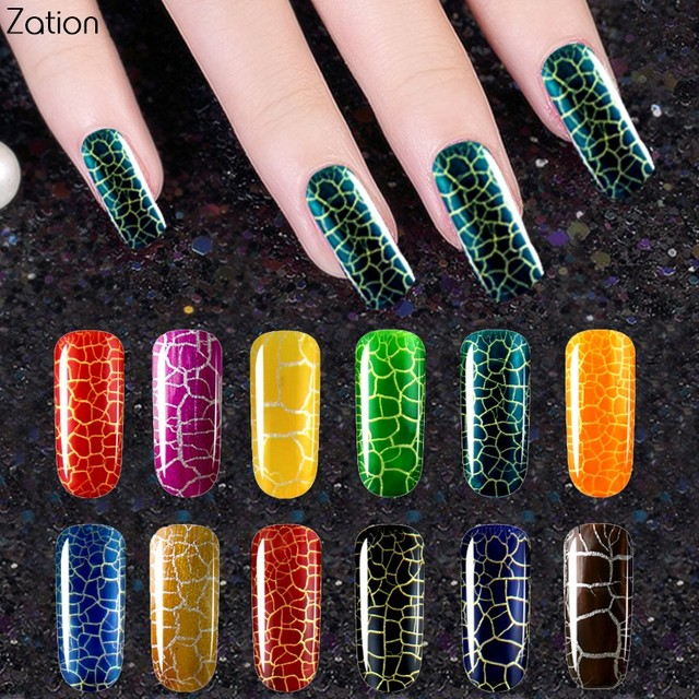 Zation Crackle Shatter Gel Nail Polish Top Base Coat Cracking Nail ...