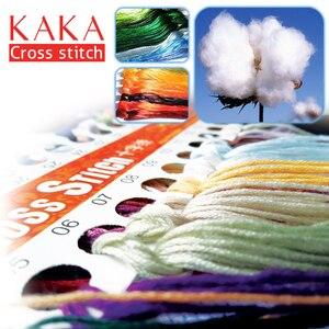 Image 3 - KAKA Cross zestaw do szycia haft robótki zestawy z nadrukowanym wzorem, 11CT na płótnie, wystrój domu do domu w ogrodzie, 5D czerwony Flamingo