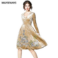 2018 Spring Elegant Women Velvet Dress Vestidos De Festa Long Sleeve Slim Vintage Embroidery Casual Evening