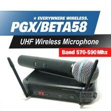El Envío Gratuito! PGX PGX24 BETA58 UHF Sistema de Micrófono Inalámbrico Supercardioide BETA de Mano Micrófono Para Karaoke Sonido Claro!!